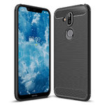 Flexi Carbon Fibre Tough Case for Nokia 8.1 - Brushed Black